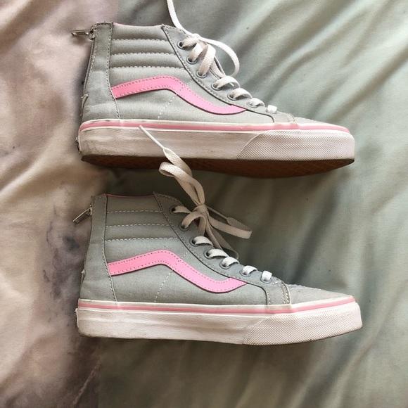 Vans Gray & Pink Old Skool High Tops